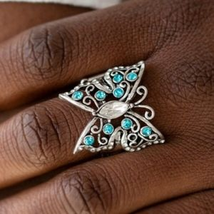 """Butterfly Bliss"" - Blue Rhinestone Butterfly Ring"